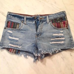 Free People Aztec Distressed Denim Shorts